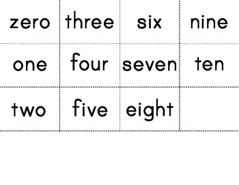 Number Matching Center - numeral, number word, ten frame, tally