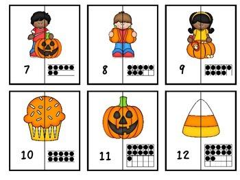 Number Matching -Fall (Match #1-20 to Ten Frames)