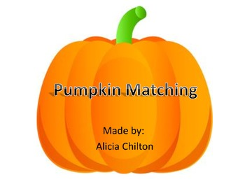 Number Matching Flash Cards Pumpkins