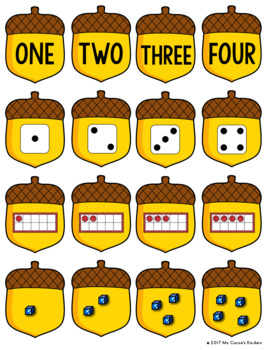 Number Matching Game 1-20 - Squirrel and Acorns