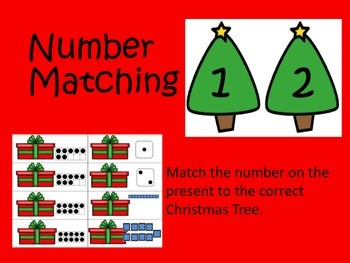 Number Matching Game: Christmas Trees