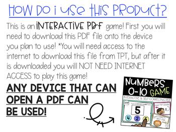 Number Matching Interactive PDF Game