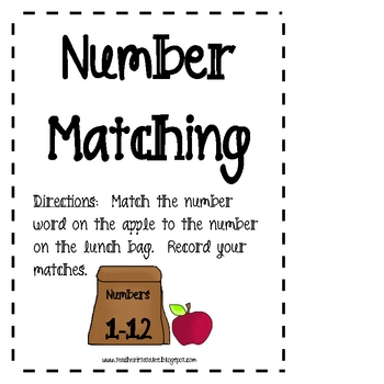 Number Matching Math Activities