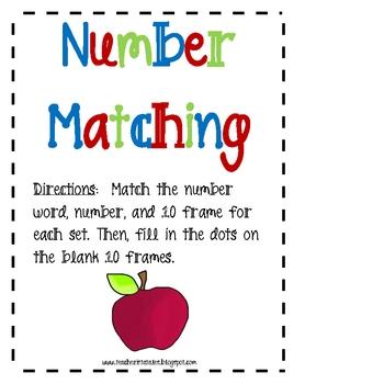 Number Matching Math Activities