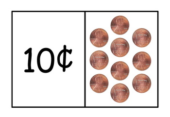 Numbers and Pennies Matching Memory Game