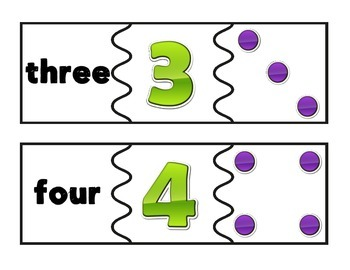 Number Matching Puzzle #1-10 FREEBIE