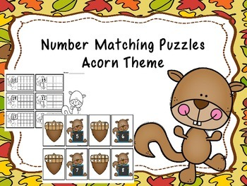 Number Matching Puzzles 1-20 Acorn Theme