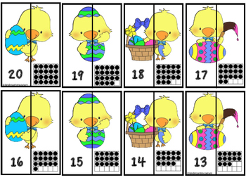 Number Matching Puzzles 1-20 Ten Frames Little Chick