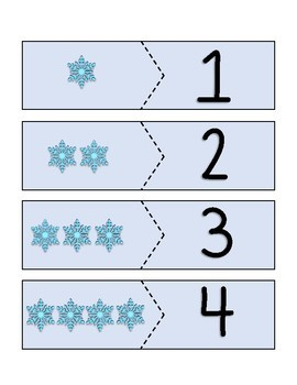 Number Matching Puzzles (winter themed)