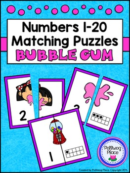 Number Matching Puzzles with Ten Frames - Bubble Gum {Numbers 1-20}