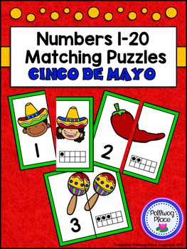 Number Matching Puzzles with Ten Frames - Cinco de Mayo {Numbers 1-20}