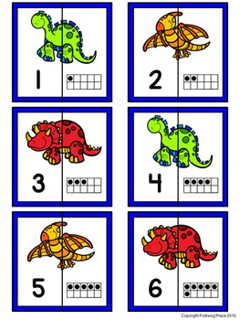 Number Matching Puzzles with Ten Frames - Dinosaurs {Numbers 1-20}