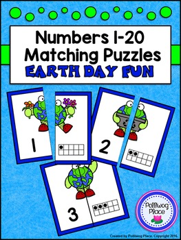 Number Matching Puzzles with Ten Frames - Earth Day Fun {N
