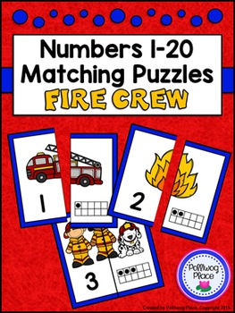 Number Matching Puzzles with Ten Frames - Fire Crew {Numbers 1-20}