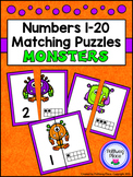 Number Matching Puzzles with Ten Frames - Halloween Monsters {Numbers 1-20}