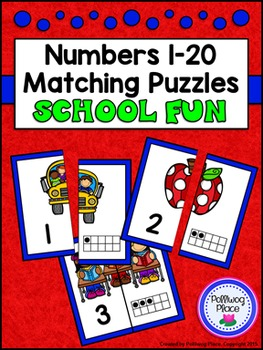 Number Matching Puzzles with Ten Frames - School Fun {Numbers 1-20}