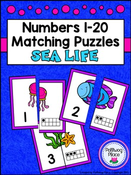 Number Matching Puzzles with Ten Frames - Sea Life {Numbers 1-20}
