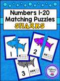 Number Matching Puzzles with Ten Frames - Sharks {Numbers 1-20}