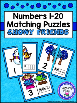 Number Matching Puzzles with Ten Frames - Snowy Friends {N