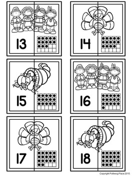 Number Matching Puzzles with Ten Frames - Thanksgiving {Numbers 1-20}