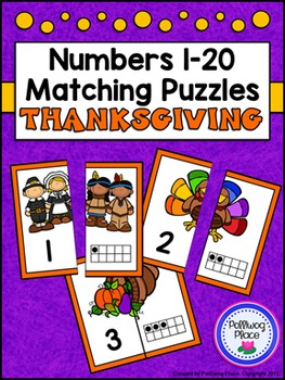 Number Matching Puzzles with Ten Frames - Thanksgiving {Nu
