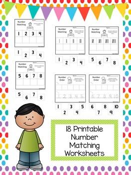 Number Matching Worksheets. Preschool-Kindergarten Math and Numbers.