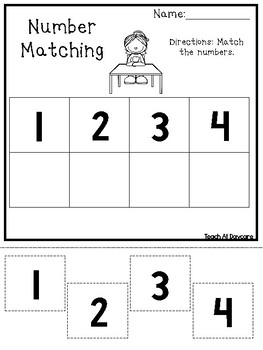 Number Matching Worksheets. Preschool-Kindergarten Math and Numbers.