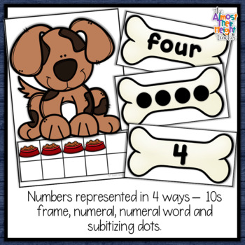 Number Matching for numbers 1-10, tens frame, words, numbers and subitizing