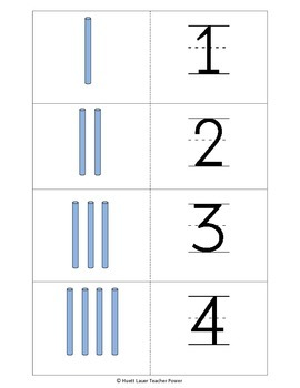 Number Matching/Counting 1 to 20 - Bundles and Sticks