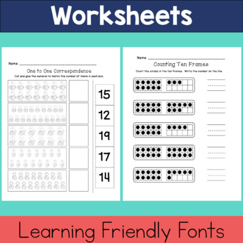 Number Match / One to One Correspondence Printable Worksheets Numbers 11-20