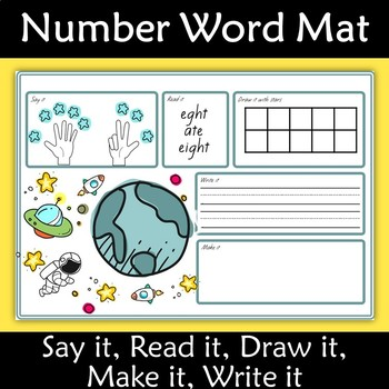 Number Mats 0-10 Say, Read, Draw, Make, Write  it Space Theme