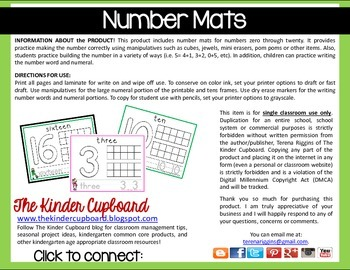 Number Mats { 0 to 20 }