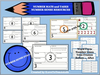 Number Mats 1-10, Task Cards, Counting, Number Lines