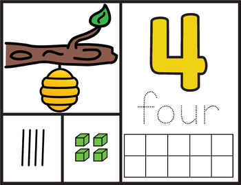 NEW! Number Mats Math Center - Counting 1-20 - Bee Theme