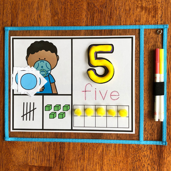 NEW! Number Mats Math Center - Counting 1-20 - Bubbles Theme