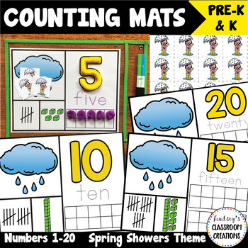 NEW! Number Mats Math Center - Counting 1-20 - Spring Showers Theme
