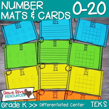 Number Mats and Number Cards to Trace, Write, & Represent Numbers 0-20 {TEKS}