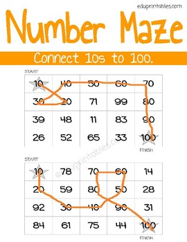 Number Maze: Connect Numbers 10s to 100