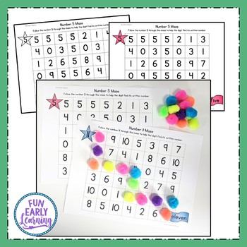 Number Mazes 0-20 - Color and Black Line