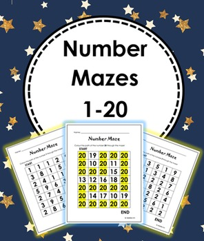 Number Mazes 1 to 20 with Answer Key