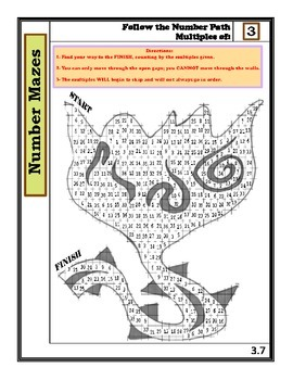 Number Mazes: Follow the Number Path- Multiples of 3