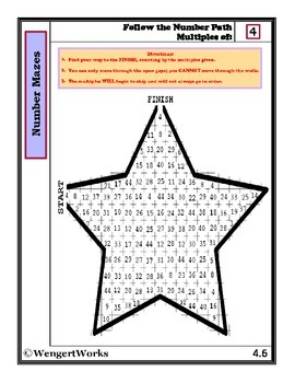 Number Mazes: Follow the Number Path- Multiples of 4