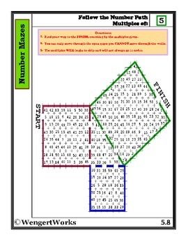 Number Mazes: Follow the Number Path- Multiples of 5