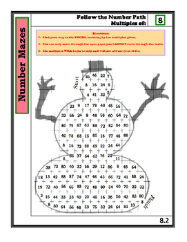Number Mazes: Follow the Number Path- Multiples of 8