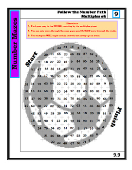 Number Mazes: Follow the Number Path- Multiples of 9