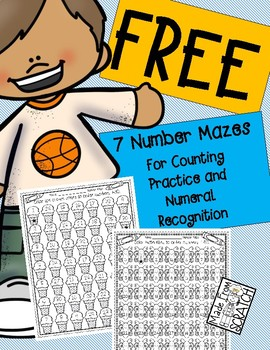 Number Mazes For Counting Practice and Numeral Recognition