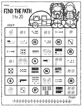 Number Mazes (Subitizing practice 1-10 and 1-20)