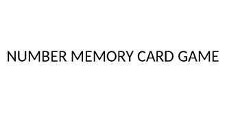 Number Memory Card Game