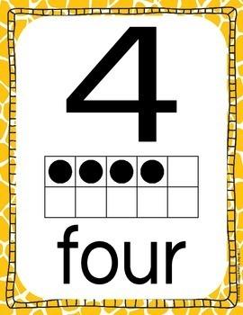 Ten Frame and Twenty Frame Number Mini Posters- Animal Print/Safari Theme