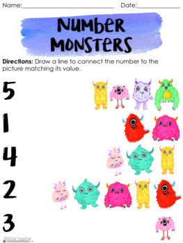Number Monsters: A Number Recognition Activity
